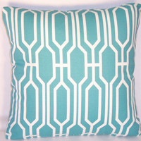 "Turquoise Lattice Throw Pillow Covington Aqua Blue Cotton 17"" Square Cover and Insert Ready to Ship"