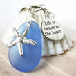 Starfish Keychain, Quote Keychain, Charm Keychain, Sea Glass Keychain, Car Accessories, Better at the Beach Keyring