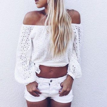 VONG2W 2016 New Women Off Shoulder Blouse Summer White Long Sleeve Crochet Hollow Out Eyelet Top