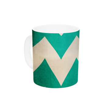 "Catherine McDonald ""2013"" Teal Chevron Ceramic Coffee Mug"