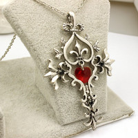 The Vampire Diaries Heart Cross Necklace - Stainless Steel