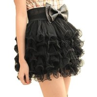Vktech New Women Girls Full Tutu Tulle Tier 5 Layer Mini Cake Skirt Black Fashion