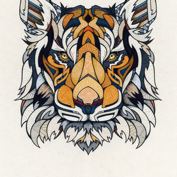 Tiger // Animal Poker Art Print by Andreas Preis