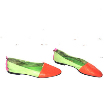 COLOR blocked neon leather BALLET flats 80s vintage pointy toe slip on leather shoes 1980s colour blocking size 8