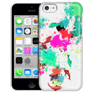 Apple iPhone 5C Abstract Paint with Fish Clear Case