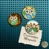 Woodland Owl Magnets, Gift Set, Fridge Magnets, Set of 3 Handmade Wood Refrigerator Magnets, Kitsch Kitchen Decor, Housewarming Gift