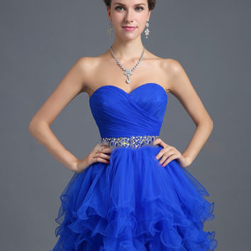 New Arrival  2017 Lovely Mini Princess Sleeveless Tulle Crystal Cocktail Dress Homecoming Dresses In Stock