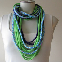 Braided Infinity Jersey String Scarf, Dark Purple, Lime Green and light blue and lilac braid