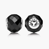 Women's PANDORA 'Essence - Strength' Bead Charm - Sterling Silver/ Black Spinel