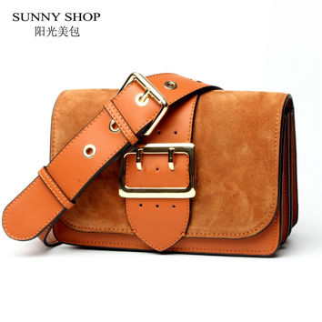 SUNNY SHOP Brand Designer Women Shoulder Bag 2017 New Fashion Genuine Leather Women Bag  Cow Leather Handbag