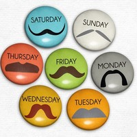 Stache a Day - Set of 6 Magnets - Whimsical & Unique Gift Ideas for the Coolest Gift Givers