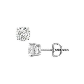 14K White Gold : Round Diamond Stud Earrings – 1.25 CT. TW.