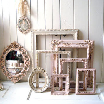 Baby Pink and Antique White Vintage Style Ornate Picture Frames, Shabby Antique Pink and Distressed White Open Frames and Oval Ornate Mirror
