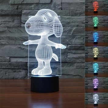 The Peanuts Charlie Brown Woodstock Puppy Dog Action Figure Night Light Color Changing Cartoon Anime Sleep Lamp Kids Birthday