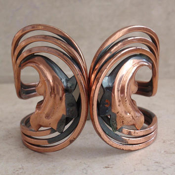 Rame Copper Cuff Bracelet Wide Hinged Mid Century Clamper Vintage 083014HO