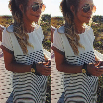 Scoop Striped Short Sleeves Casual Mid-length T-shirt