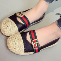 GUCCI New fashion flat women red and green stripe shoes casual shoes straw shoes Black