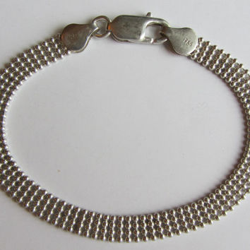 "Sterling Silver Four Beaded Rows Bracelet 7 1/4"" - 6.08g"