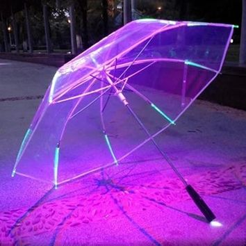 New 8 Rib Light up Blade Runner Style Changing Color LED Umbrella with Flashlight Transparent Handle Straight Umbrella Parasol
