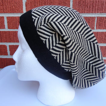 Black and Beige Geometric Design Men's or Women's Slouchy Hat Made from Upcycled / Recycled Sweater
