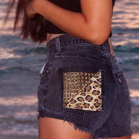 Black Levis High waist studded leopard print denim shorts by Jeansonly