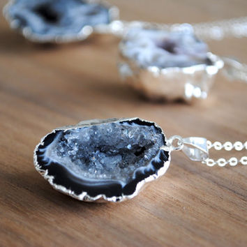 "Geode Necklace - Silver Plated with Delicate 18"" Sterling Silver Chain"