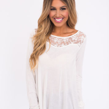 Lace Detail Long Sleeve Top- Ivory