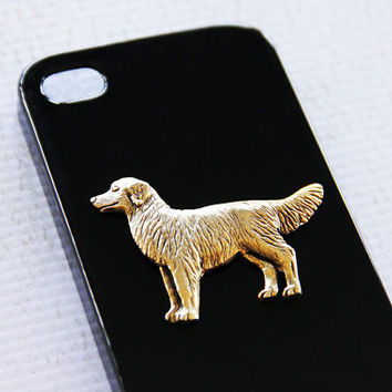 Golden Retriever Durable Black Plastic and Gold Case for Apple iPhone 4 and 4S iPhone 6 Case