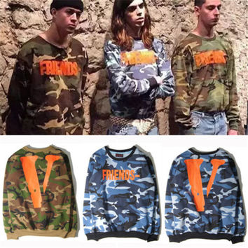 Capital V Printed New Style Fashion Hoodies Camo Long Sleeve Unisex Sweatshirts Friends Street Wear Clothes