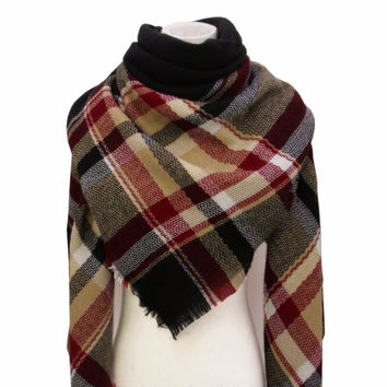 Classic Soft Plaid Scarf Large Wraps Shawl Kint Cashmere Women's Winter Infinity Big Square Scarf for Gift