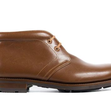 Church's Womens Caramel Leather Tonal Stitched Ankle Desert Boots