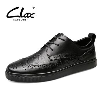 CLAX Mens Brogue Shoes Genuine Leather Spring Autumn Men's Casual Leather Shoe British Dress Footwear Designer Wedding Shoe Soft