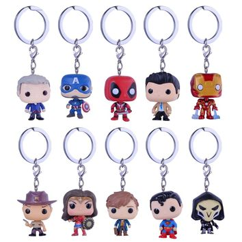 Marvel Keychains Jewelry Dobby Superman Suicide squad ARROW Rick and Morty Niffler Flash Action Figure Toy Keychain