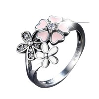 Ring Oil Drop Flower Enamel Ring Pink Enamel