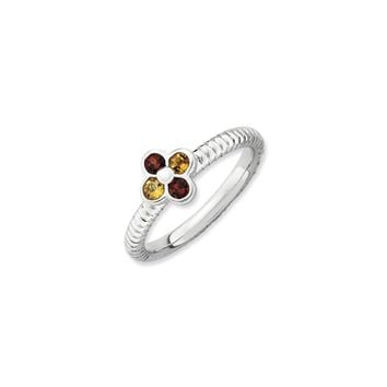 Sterling Silver Garnet and Citrine Stackable 7mm Flower Ring