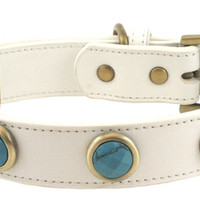 Pebble Faceted Turquoise Dog Collar - Large Dog