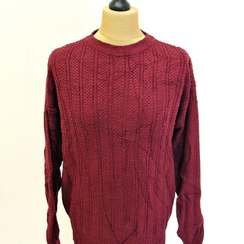 Vintage 90s Uno Pierre Red Shaker Knit Jumper Sweater Large