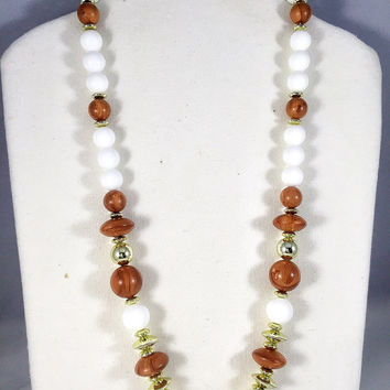 White, gold, and faux wood necklace, 1960s vintage necklace, white plastic chunky bead necklace, vintage costume jewelry