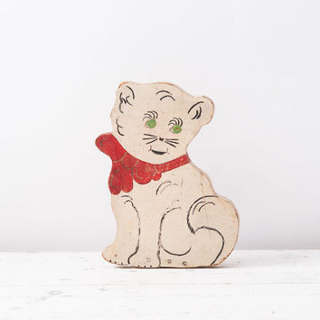 Vintage Primitive Wooden Cat Door Stop: Hand Painted Folk Art White Kitty with Red Bow