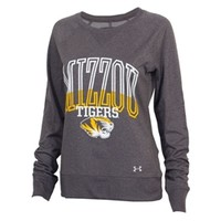 The Mizzou Store - Mizzou Under Armour Tiger Head Grey Long Sleeve Crew Neck Shirt
