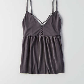 AEO Soft & Sexy Sueded Peplum Tank , Black