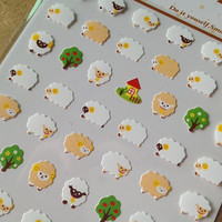 Cute sheep little fat lamb one point seal sticker mini icon Farm animal baby tree diy gift card deco smartphone case diary 2014 scrapbooking