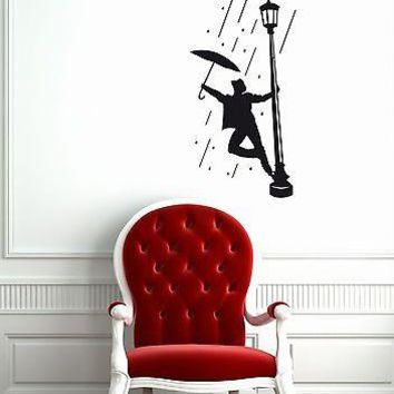 Wall Stickers Vinyl Decal Man in the Rain Umbrella for Living Room Unique Gift ig1311