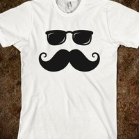 Funny hipster mustache and sunglasses