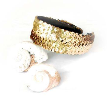 Beautiful Gold Metallic Sequin Headband For An Evening Celebration Or Fancy Dress Outfit For Your Holiday Cruise To The Islands