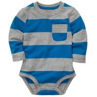 Long-Sleeve Striped Bodysuit