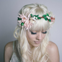 Oversized Flower Headpiece- Leather Crown Statement Pink & Cream Floral Hair Accessory
