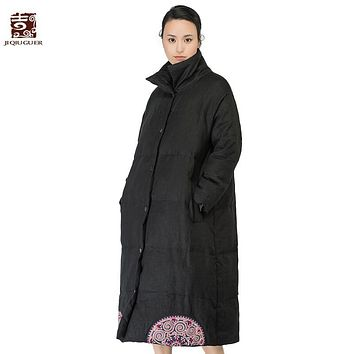 Jiqiuguer Brand Appliques Solid Women's Winter Coats For Winter Single Breasted Manual Button Stand Collar Down Jackets G164Y020