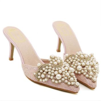 MDIGMS9 Roman Pearls Rhinestone High Heel Sandals Lace Pointed Toe Slippers [6049543233]