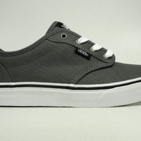 VANS Atwood Canvas Shoes Charcoal Gray White Women Sneakers VN-0KI54WC